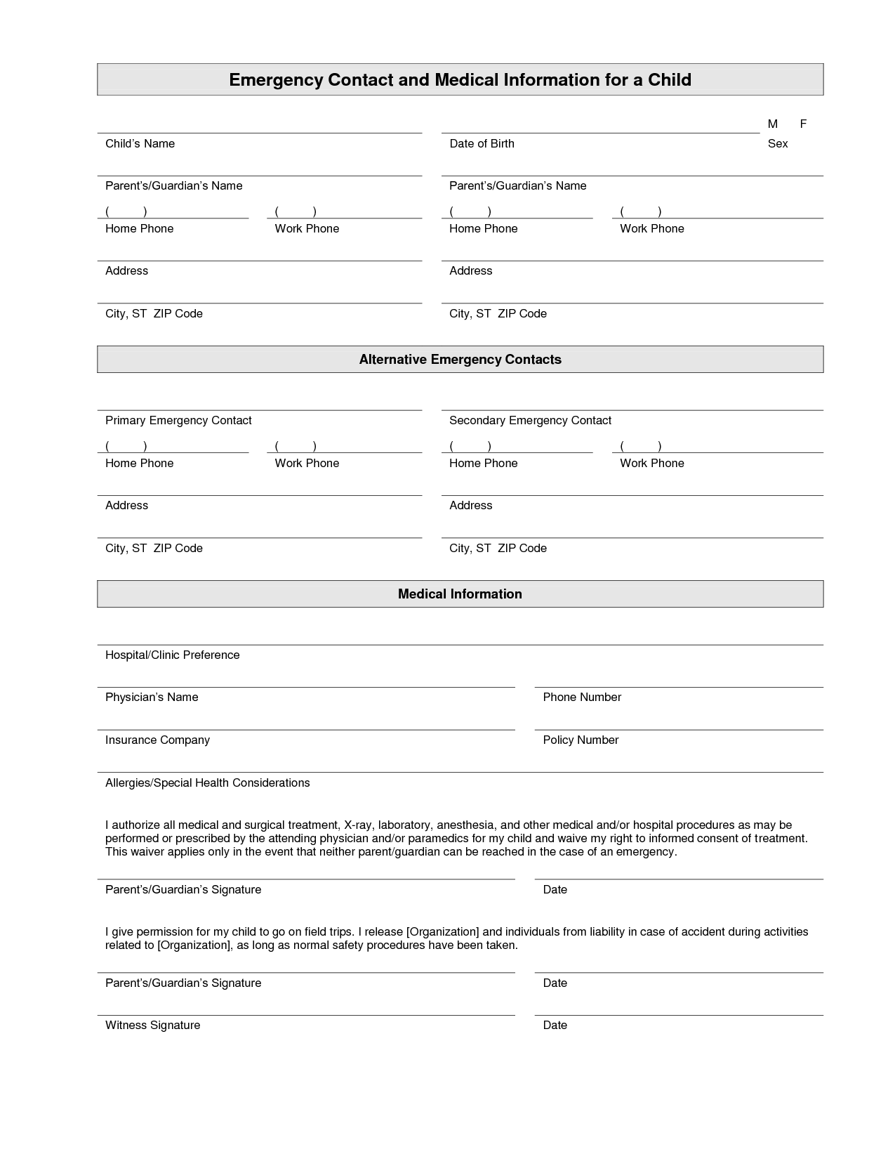 Emergency Contact Form - Mrs. Branchu0026#39;s Class